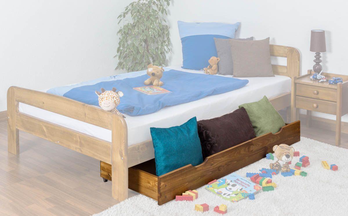 Schublade für Bett - Kiefer Vollholz massiv Eichefarben 002- Abmessung 17 x 150 x 57 cm (H x B x T)