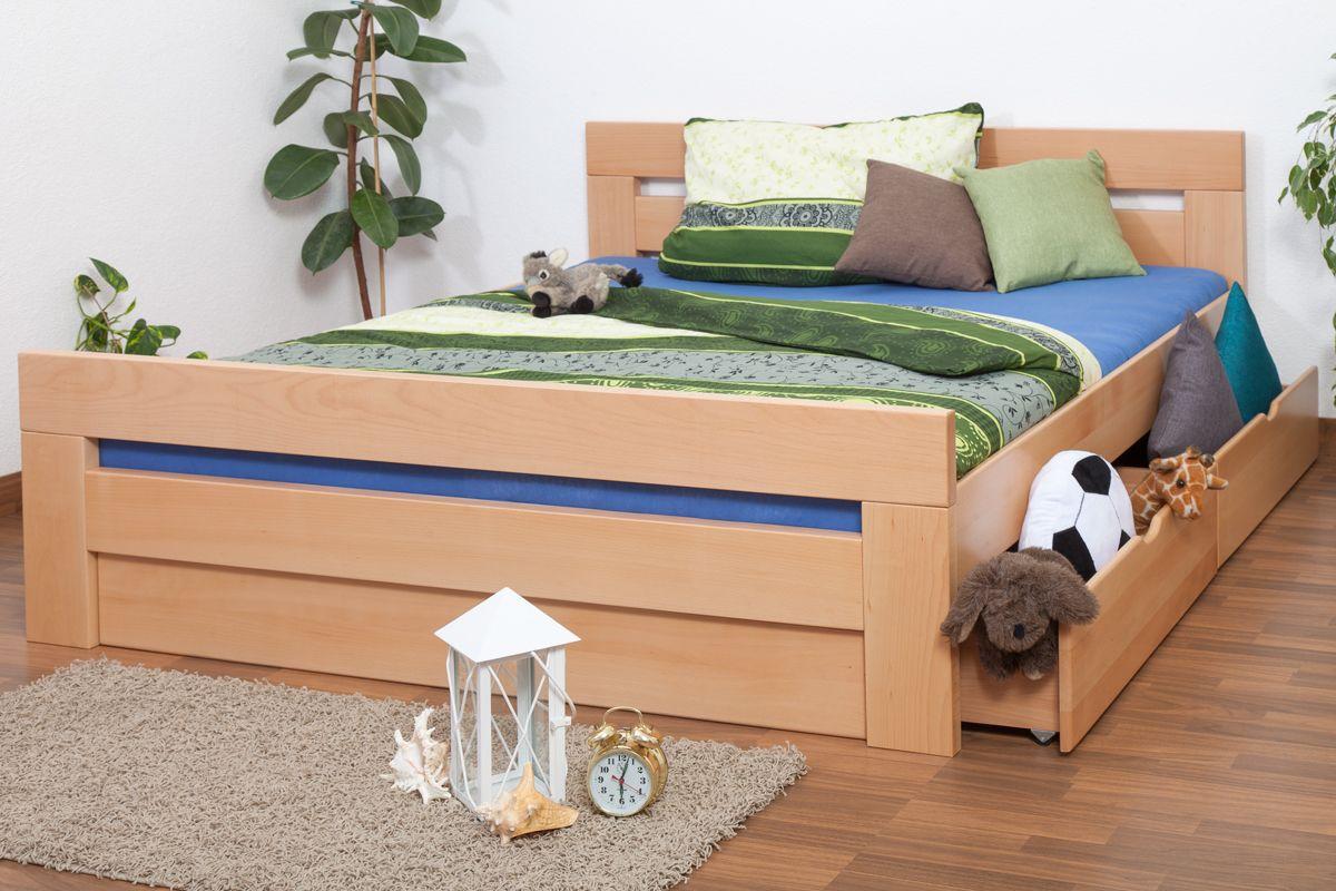 """Doppelbett / Funktionsbett """"Easy Premium Line"""" K6 inkl. 2 Schubladen und 1 Abdeckblende 180 x 200 cm Buche Vollholz massiv Natur"""