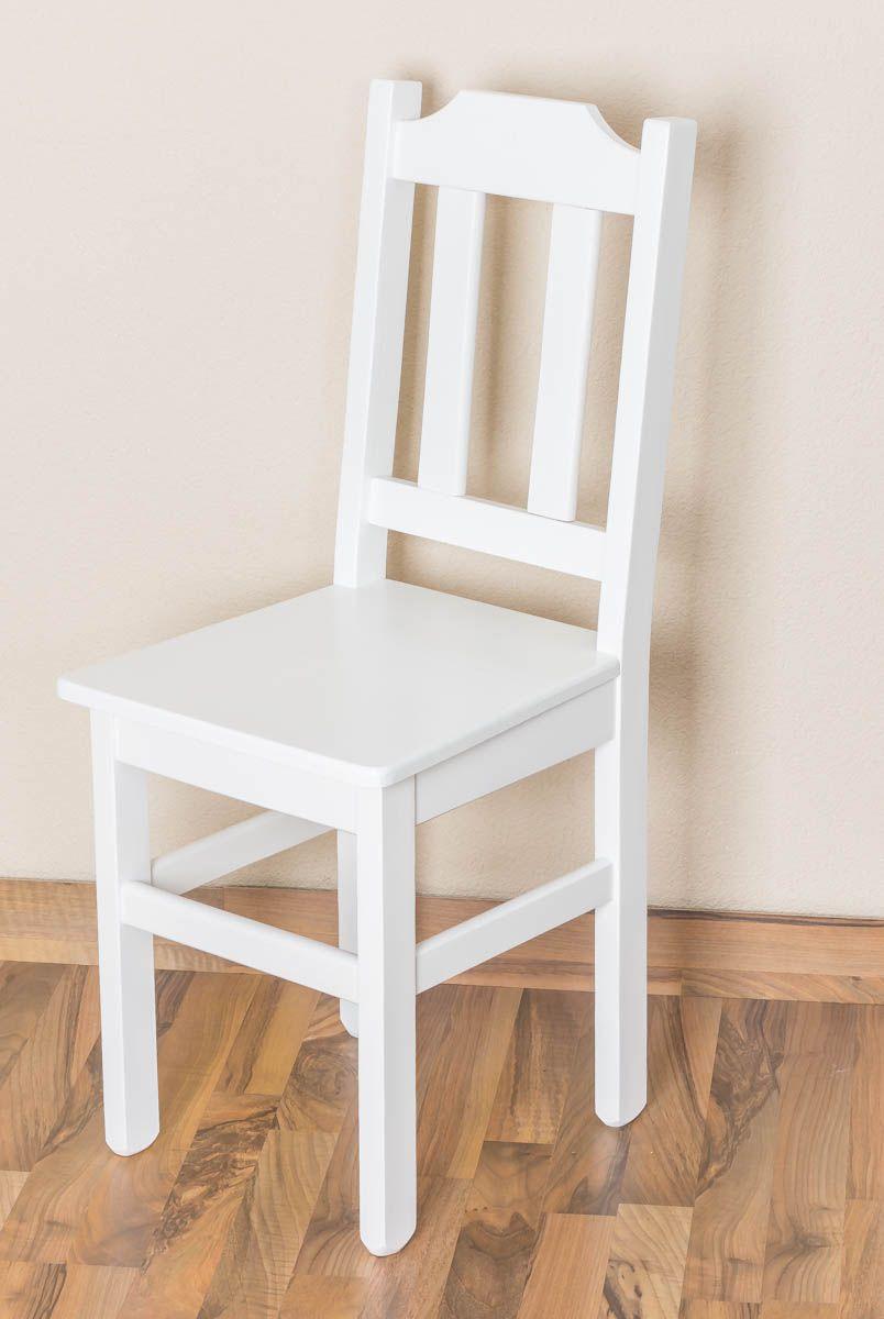 Stuhl Kiefer massiv Vollholz weiß lackiert Junco 248 - 91 x 35 x 44 cm (H x B x T)