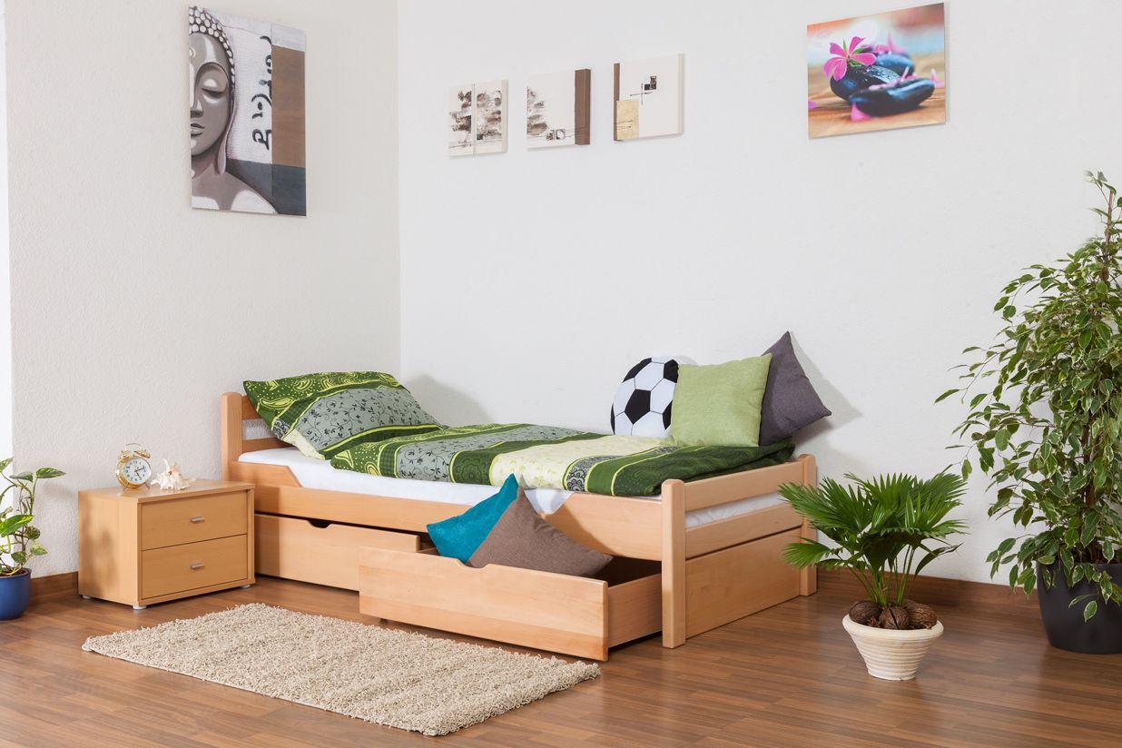 """Einzelbett / Gästebett """"Easy Premium Line"""" K1/2n inkl. 2 Schubladen und 2 Abdeckblenden, 90 x 200 cm Buche Vollholz massiv Natur"""