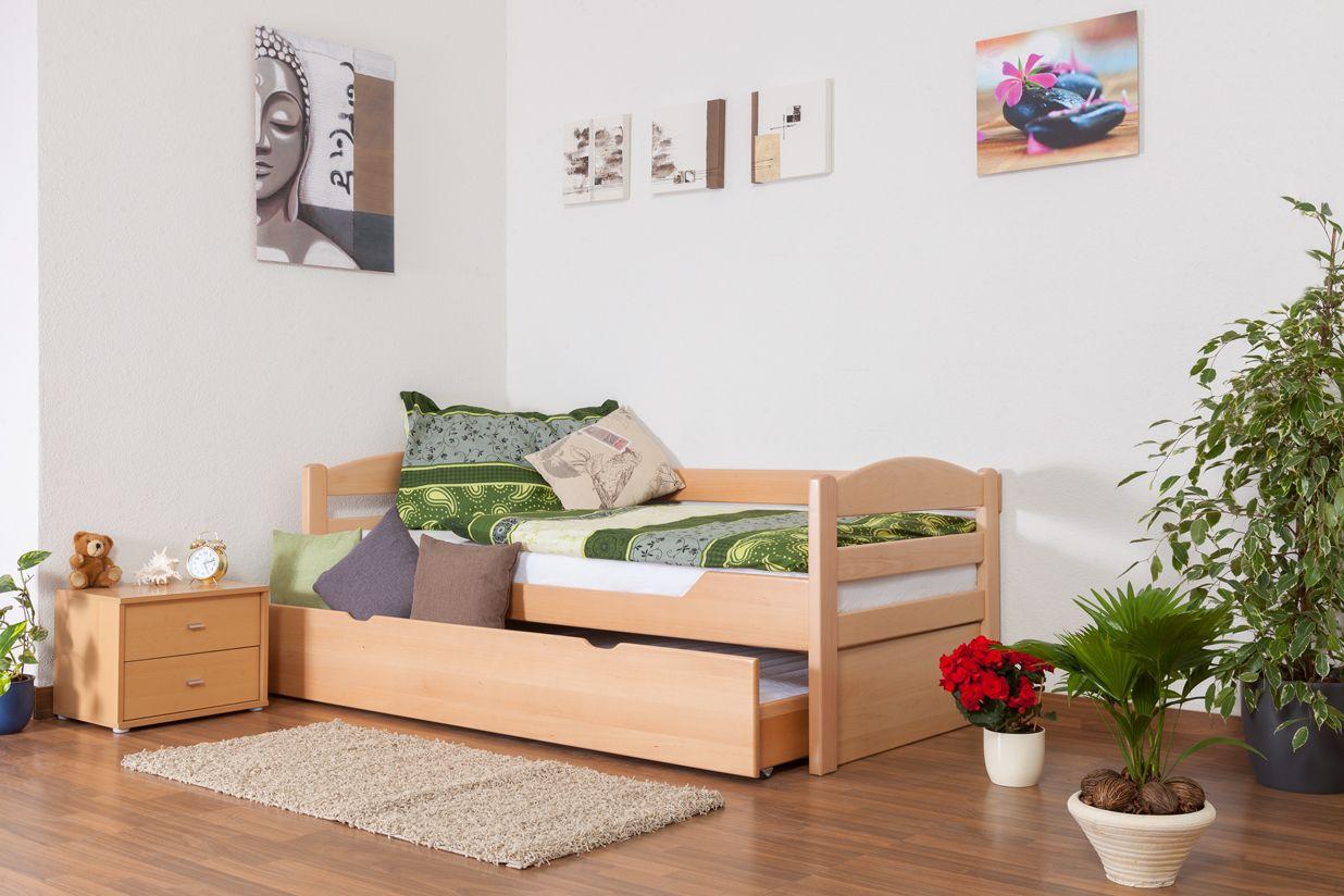 """Einzelbett / Funktionsbett """"Easy Premium Line"""" K1/h/s inkl. 2. Liegeplatz und 2 Abdeckblenden, 90 x 200 cm Buche Vollholz massiv Natur"""