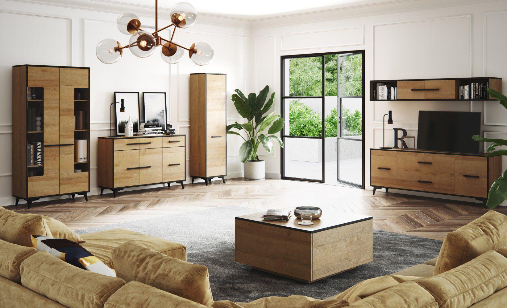 Wohnzimmer Komplett - Set B Altels, 6-teilig, Farbe: Riviera Eiche / Dunkelbraun