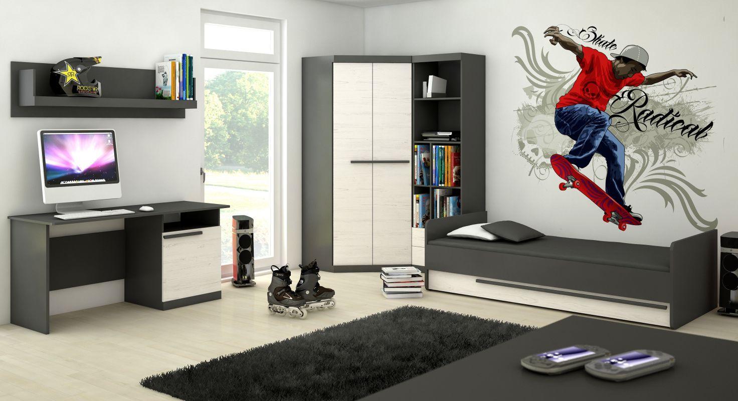Jugendzimmer Komplett - Set A Sidi, 5-teilig, Farbe: Grau / Kiefer Weiß