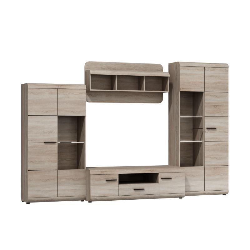 Wohnzimmer Komplett - Set C Gabes, 4-teilig, Farbe: Eiche Sonoma