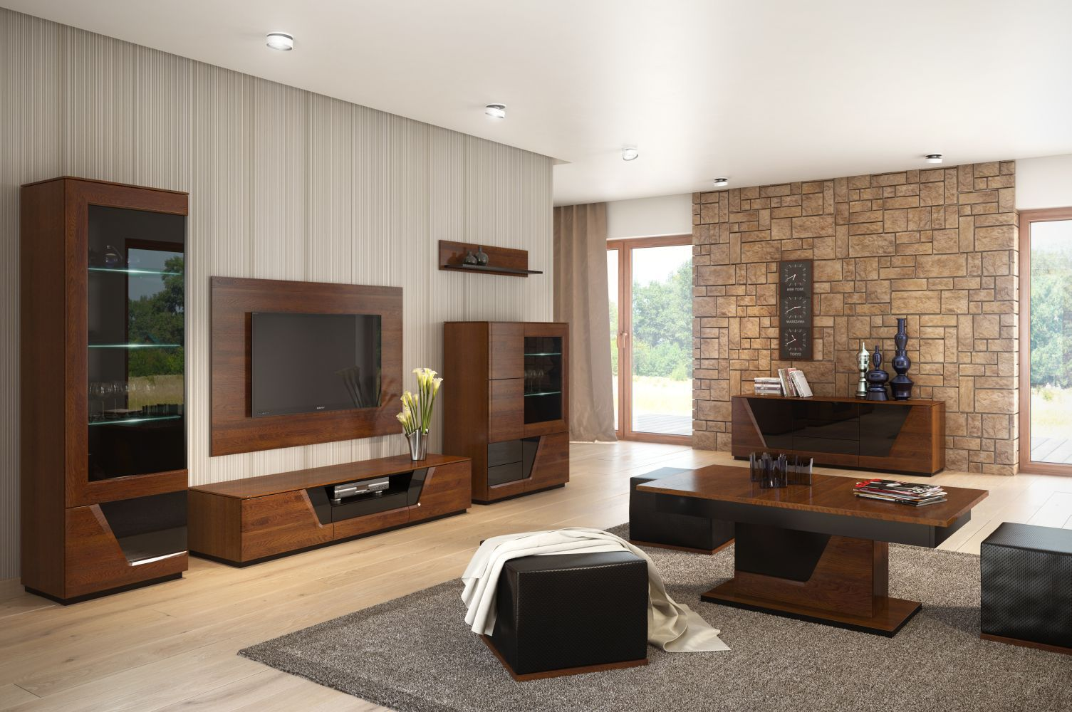 Wohnzimmer Komplett - Set B Medulin, 10-teilig, teilmassiv, Farbe: Walnuss / Schwarz