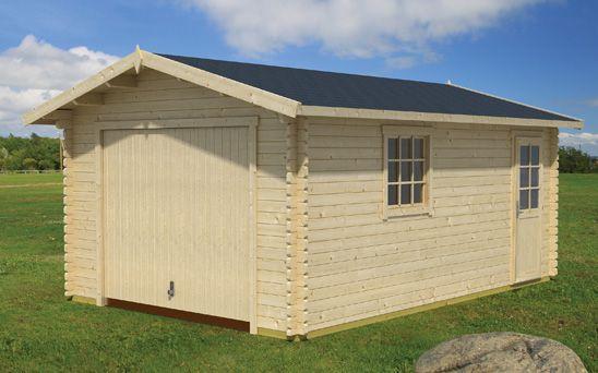 Holzgarage H159 inkl. Holztor - 44 mm Blockbohlenhaus, Grundfläche: 19,40 m², Satteldach