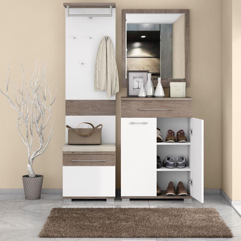 Garderobe Komplett - Set C Sagone, 4-teilig, Farbe: Eiche Dunkelbraun / Weiß
