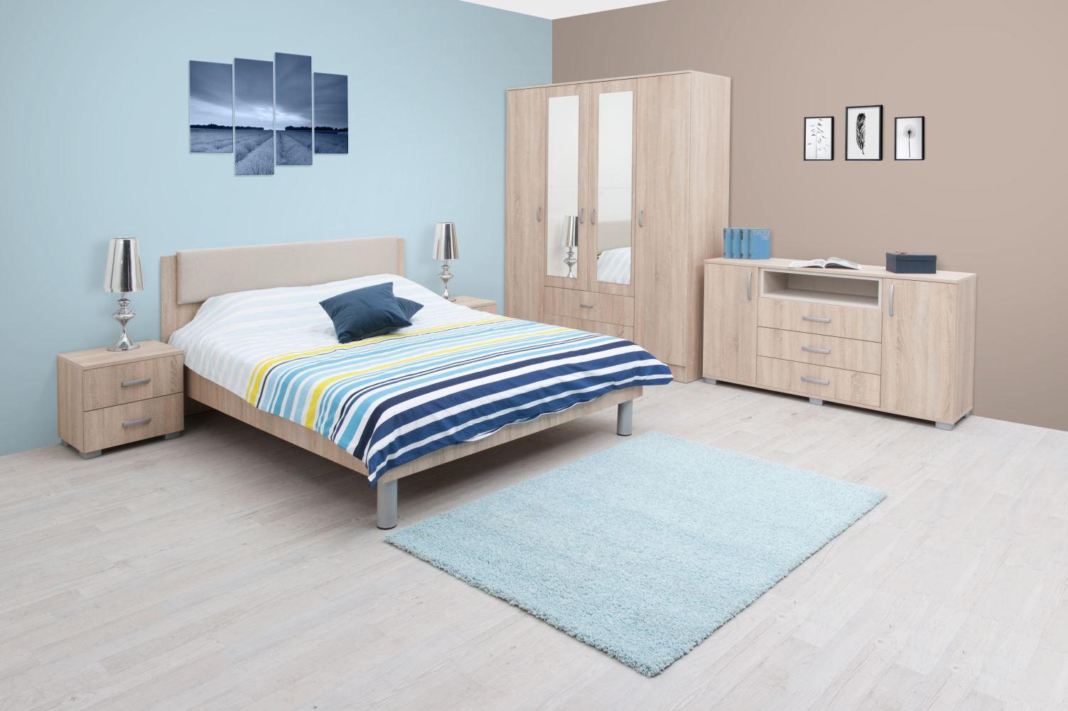 Schlafzimmer Komplett - Set E Bermeo, 6-teilig, Farbe: Eiche Braun / Creme