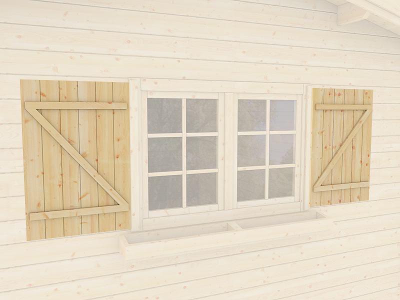 Blumenkästen und Fensterläden Set für Doppelfenster