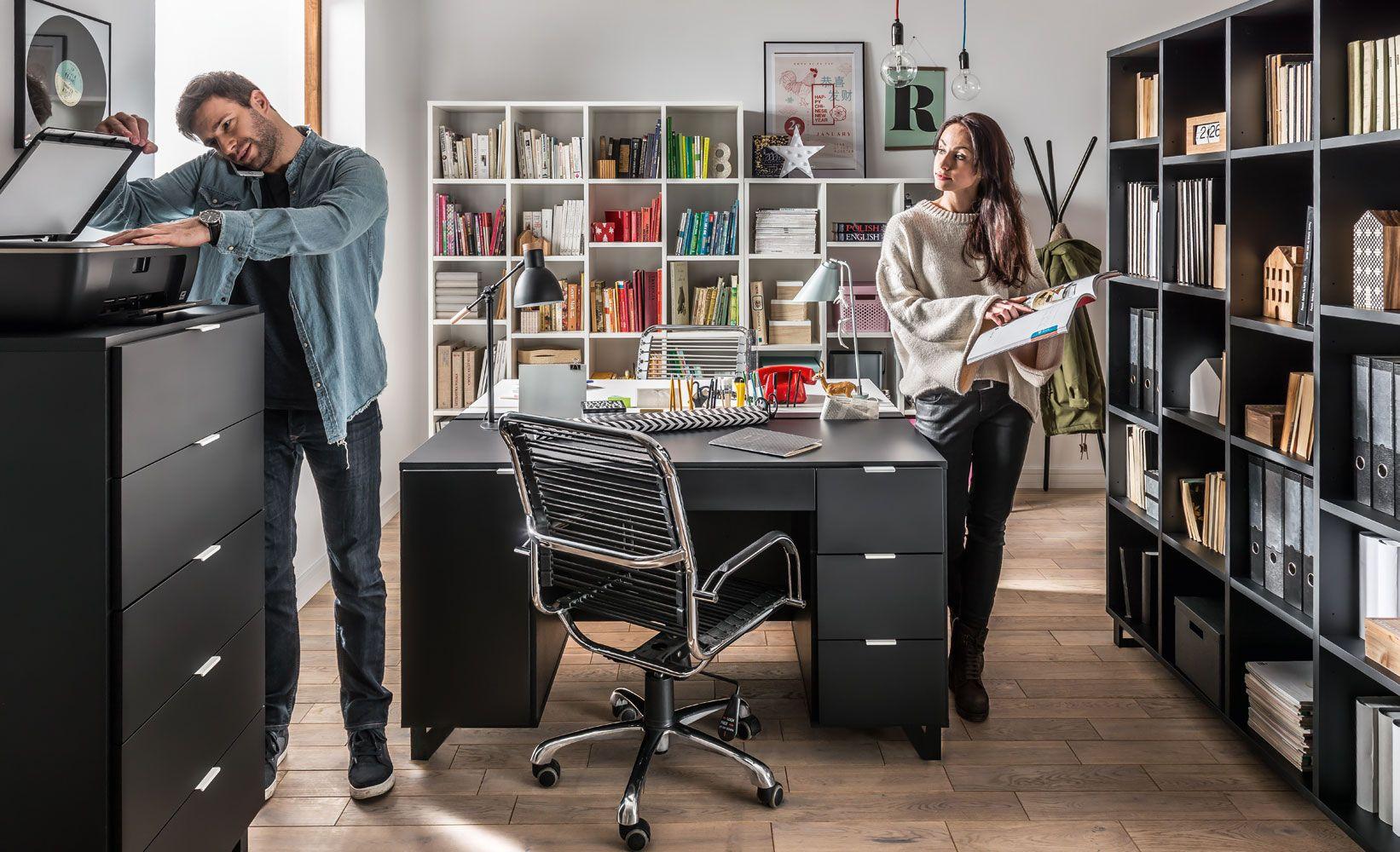 "Büro Komplett - Set ""Chiflero"", 6-teilig, Farbe: Weiß / Schwarz"