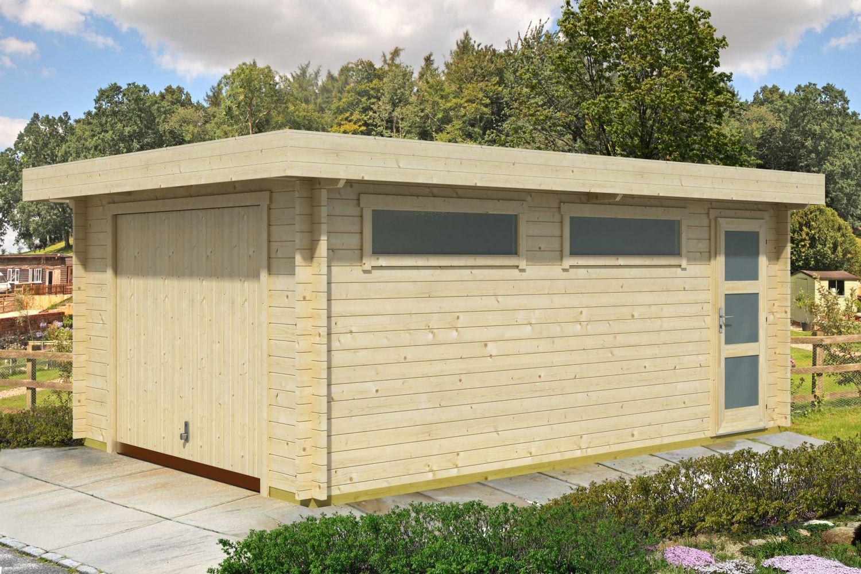 Holzgarage H153 inkl. Schwingtor- 44 mm Blockbohlenhaus, Grundfläche: 19,40 m², Flachdach