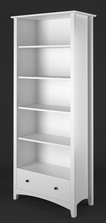 Bücherregal Kiefer Vollholz massiv weiß Lagopus 99 - Abmessungen: 200 x 100 x 42 cm (H x B x T)