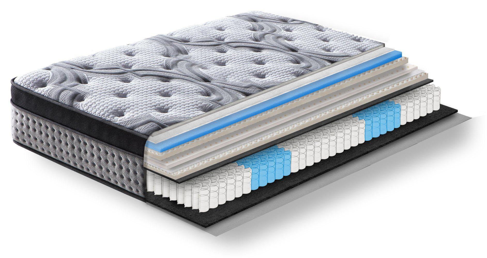 Steiner Premium Matratze Comfort mit 5-Zonen-Taschenfederkern - Größe: 140 x 200 cm, Härtegrad H3-H4, Höhe: 34 cm