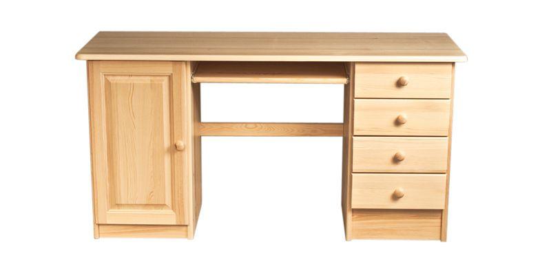 Schreibtisch Kiefer massiv Vollholz natur 003 - Abmessung 74 x 136 x 55 (H x B x T)