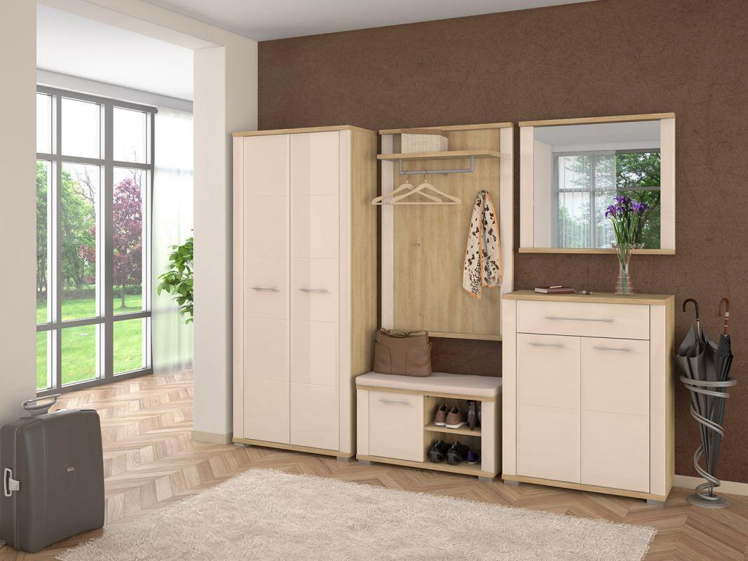 Garderobe Komplett - Set E Sili, 5-teilig, Farbe: Eiche Braun / Creme Hochglanz