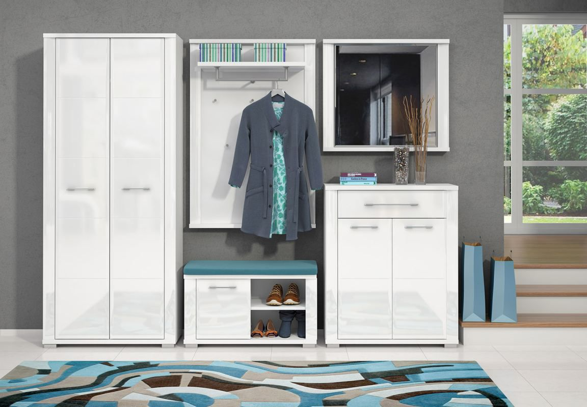 Garderobe Komplett - Set D Sili, 5-teilig, Farbe: Weiß