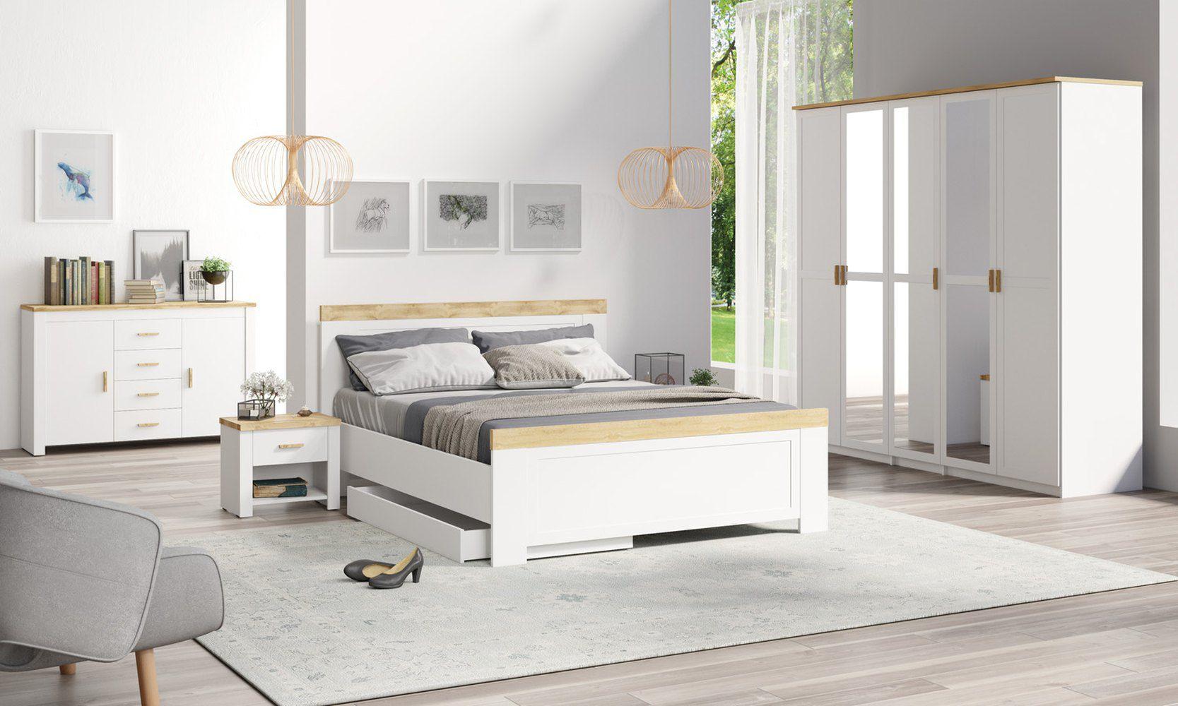 """Schlafzimmer Komplett - Set  """"Dodoni"""", 5-teilig, Weiß / Eiche"""