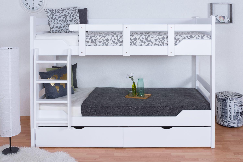 """Etagenbett für Erwachsene """"Easy Premium Line"""" K12/n inkl. 2 Schubladen und 2 Abdeckblenden, Kopf- und Fußteil gerade, Buche Vollholz massiv Weiß - Maße: 90 x 200 cm, teilbar"""