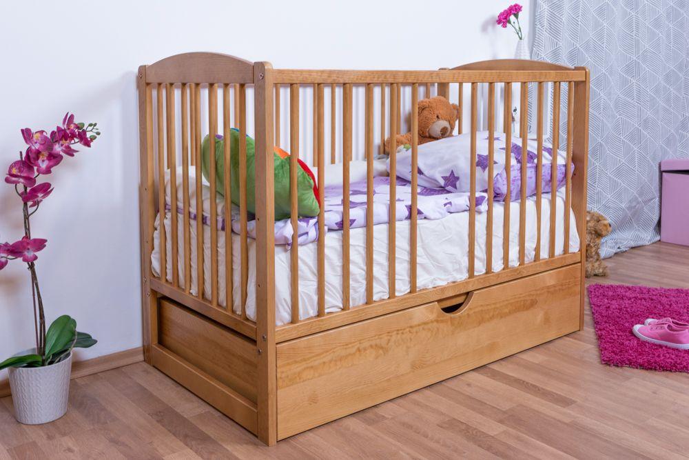 Gitterbett / Kinderbett Kiefer massiv Vollholz Erlefarben 102, inkl. Lattenrost, inkl. Schublade, 60 x 120 cm (B x L)