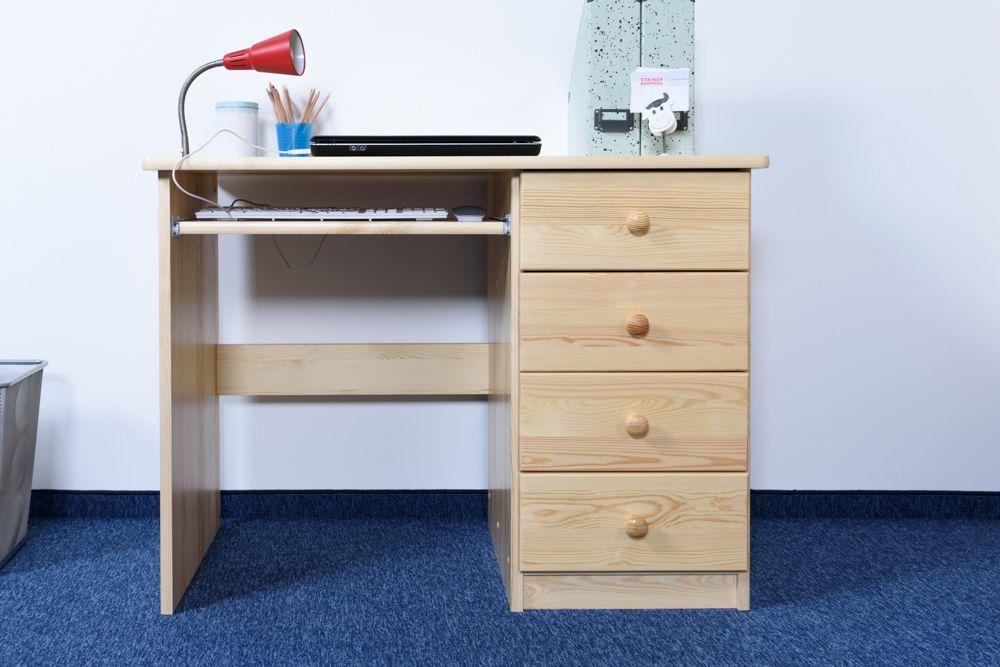 Schreibtisch Kiefer massiv Vollholz natur Junco 191 - Abmessung: 75 x 100 x 55 cm (H x B x T)