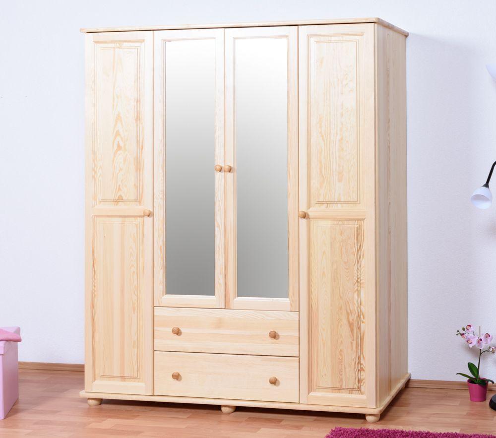 Kleiderschrank Kiefer Vollholz massiv natur Junco 01 - Abmessungen: 195 x 160 x 60 cm (H x B x T)