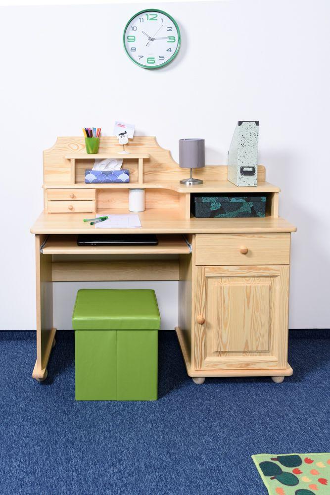 Schreibtisch Kiefer massiv Vollholz natur Junco 188 - Abmessung: 106 x 120 x 57 cm (H x B x T)