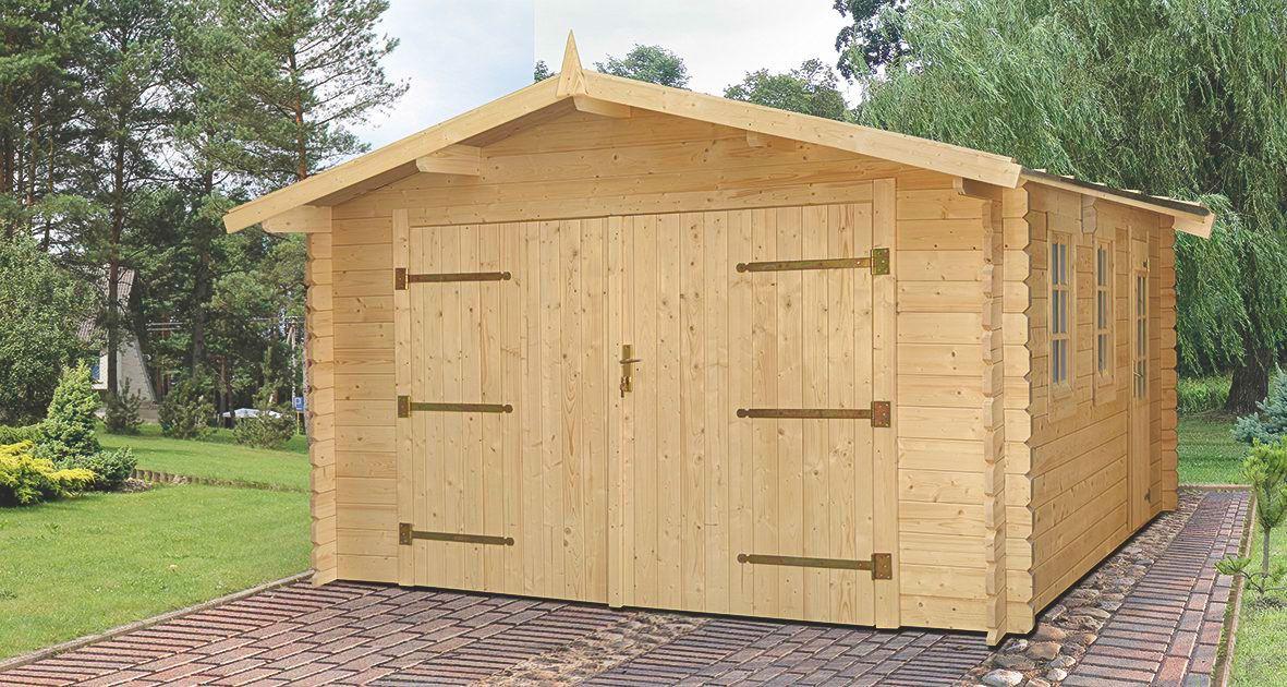 Holzgarage E19 - 44 mm Blockbohlenhaus, Grundfläche: 21,80 m², Satteldach