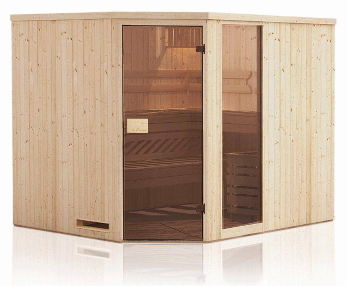 Elementsauna Tirari 68 mm mit 1 Sichtfenster und Dachkranz - Außenmaße (B x T x H): 244 x 194 x 199 cm