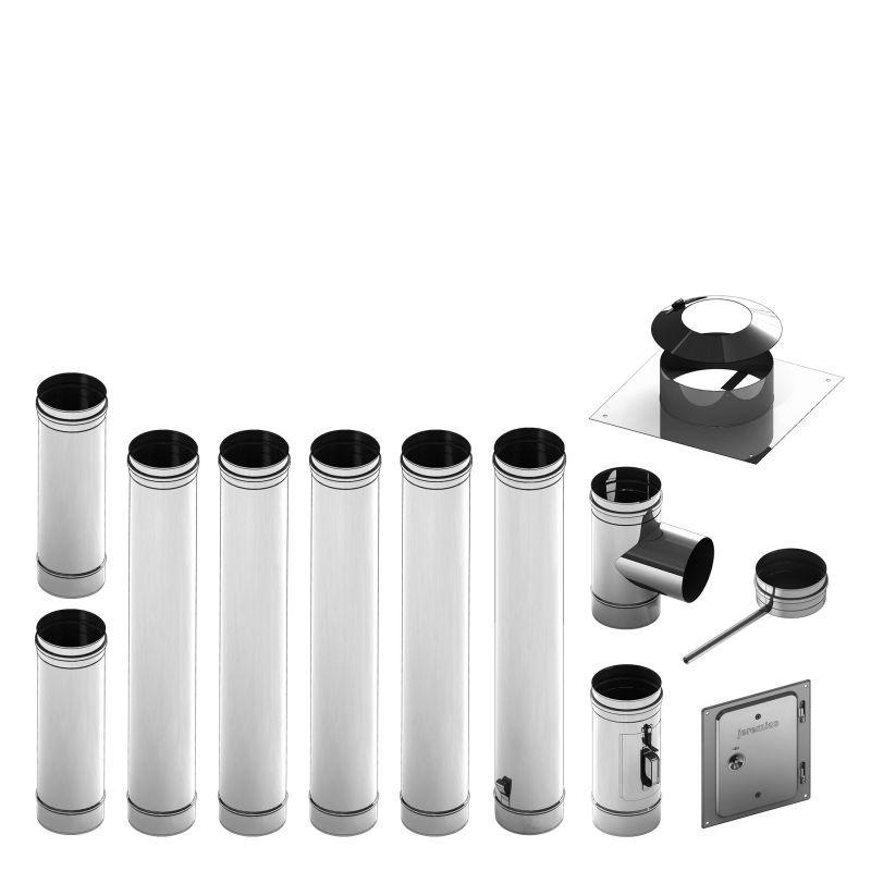 Einwandiges Schornsteinpaket aus Edelstahl mit Reinigungselement - Durchmesser: 115 mm