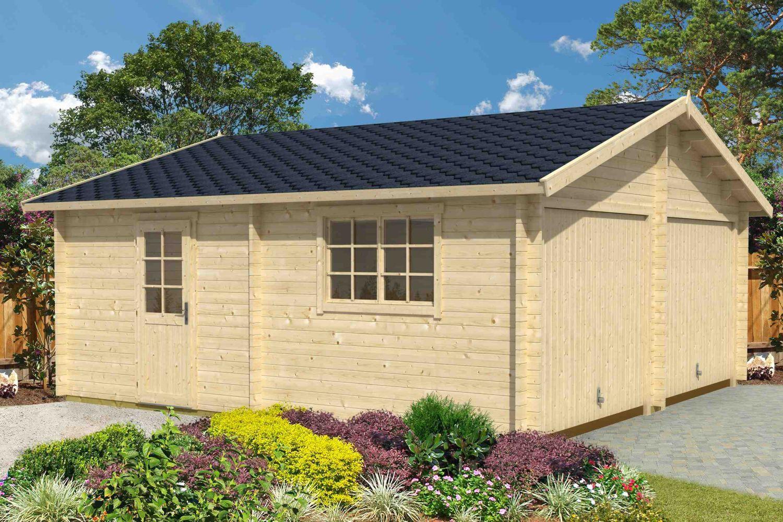 Holzgarage H163 inkl. Holztor - 44 mm Blockbohlenhaus, Grundfläche: 33,00 m², Satteldach