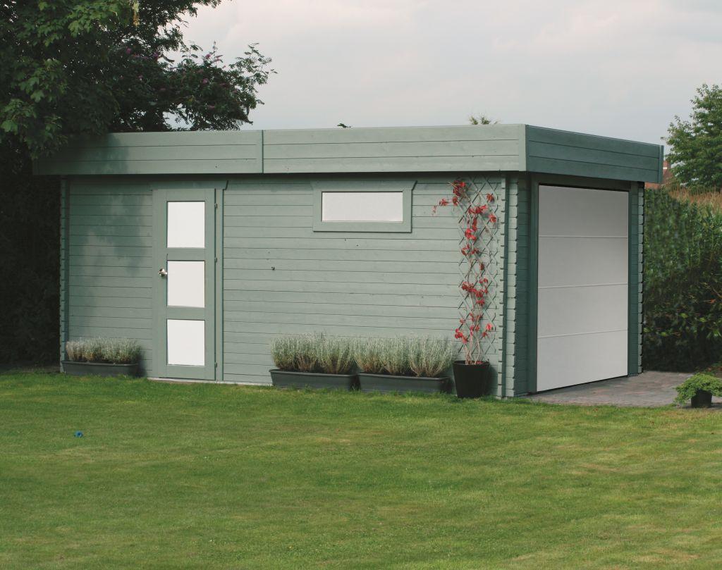 Garage Primula S8935 - 40 mm Blockbohlenhaus, Grundfläche: 17,07 m², Flachdach