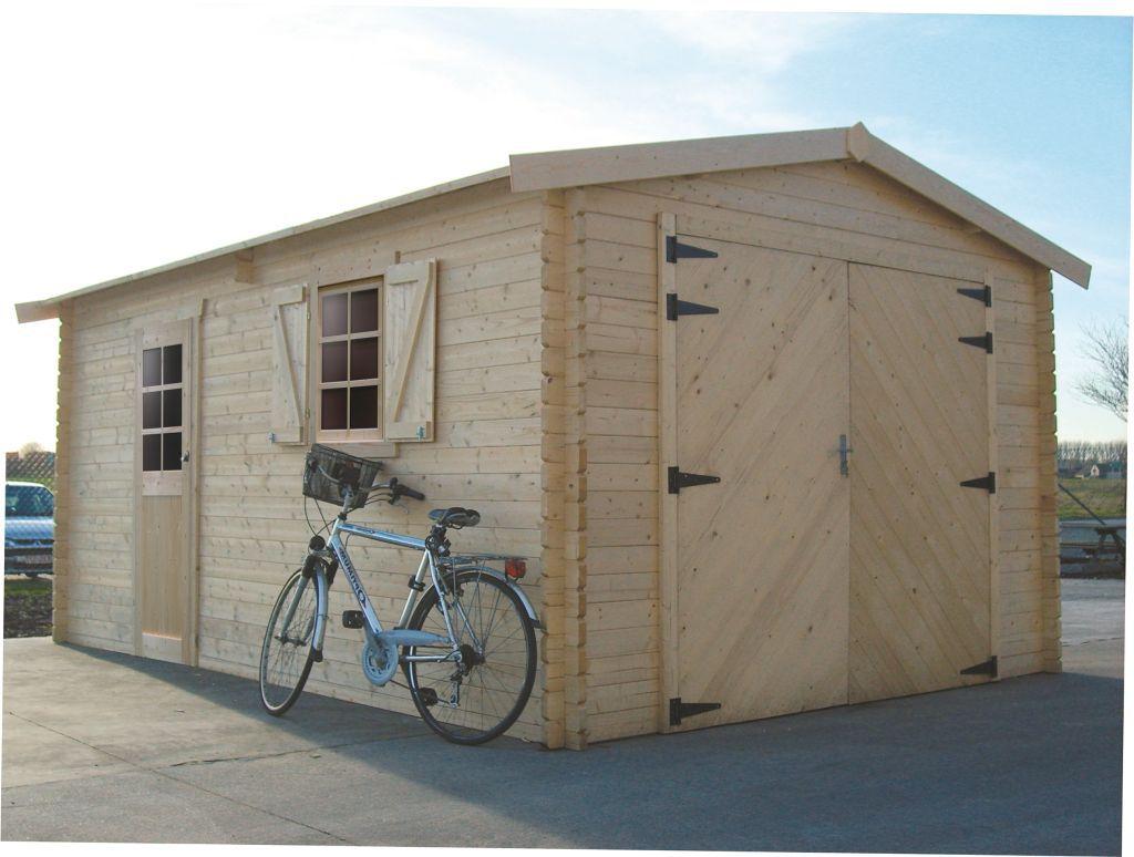 Garage Primula S8944 - 40 mm Blockbohlenhaus, Grundfläche: 17,07 m², Satteldach
