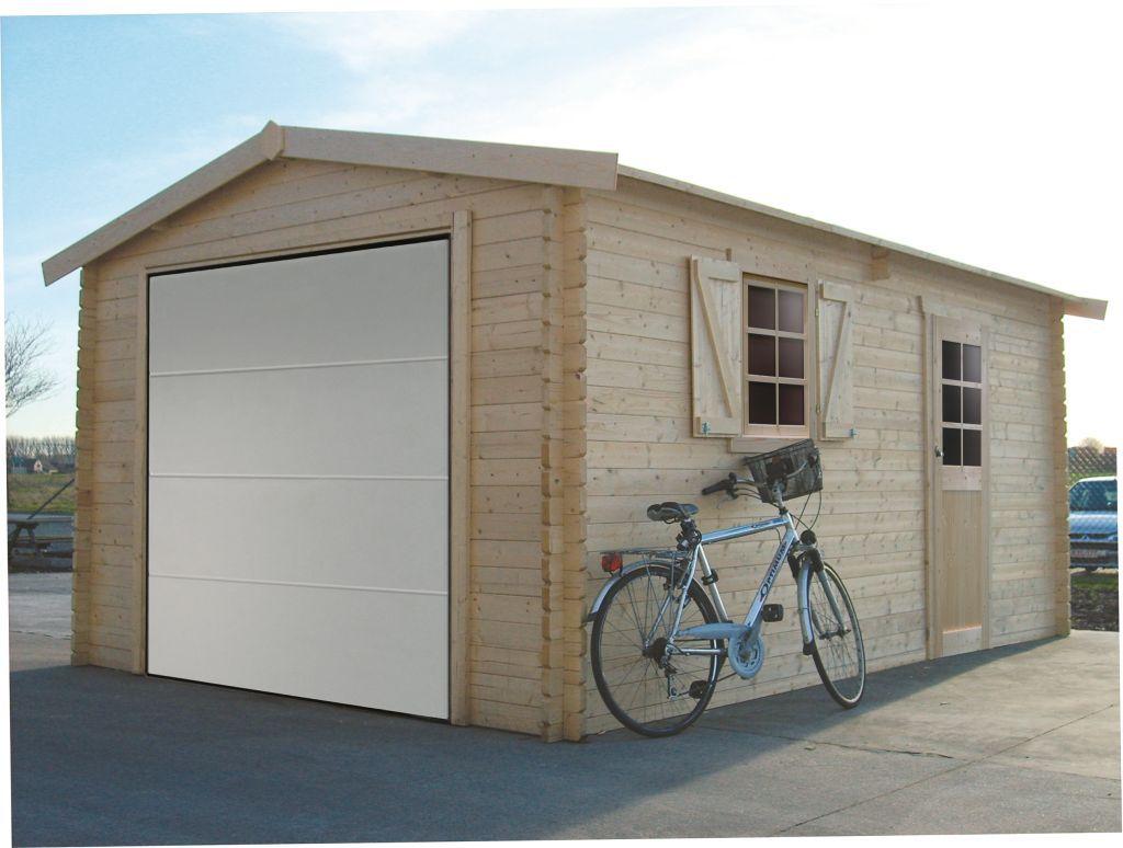 Garage Primula S8946 - 40 mm Blockbohlenhaus, Grundfläche: 17,07 m², Satteldach