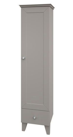 Badezimmer - Hochschrank Dindigul 32, Farbe: Grau – 155 x 39 x 37 cm (H x B x T)