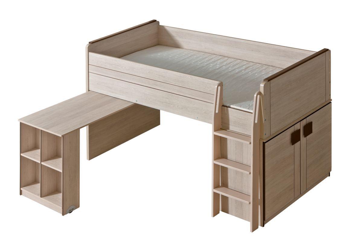 Funktionsbett / Kinderbett / Hochbett - Kombination mit Bettkasten und Schreibtisch Elias 15, Farbe: Hellbraun / Braun - Liegefläche: 90 x 200 cm (B x L)