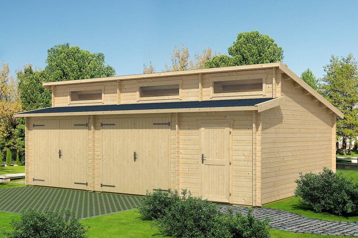 Holzgarage H29 - 44 mm Blockbohlenhaus, Grundfläche: 40,50 m², Stufendach