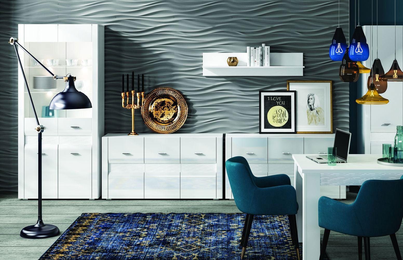Esszimmer Komplett - Set A Heber, 6-teilig, Farbe: Weiß / Weiß Glanz