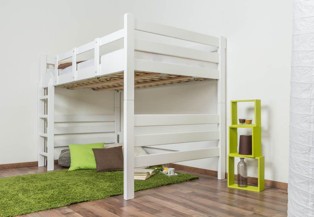 """Hochbett für Erwachsene """"Easy Premium Line"""" K15/n, Buche Vollholz massiv weiß lackiert, teilbar - Maße: 120 x 190 cm"""
