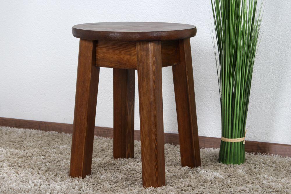Hocker Kiefer massiv Vollholz Eichefarben 004 -  Abmessung: 45 x 35 cm (H x Ø)