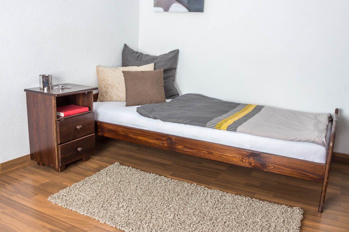 Einzelbett / Gästebett Kiefer Vollholz massiv nussfarben A11, inkl. Lattenrost - Abmessung 90 x 200 cm