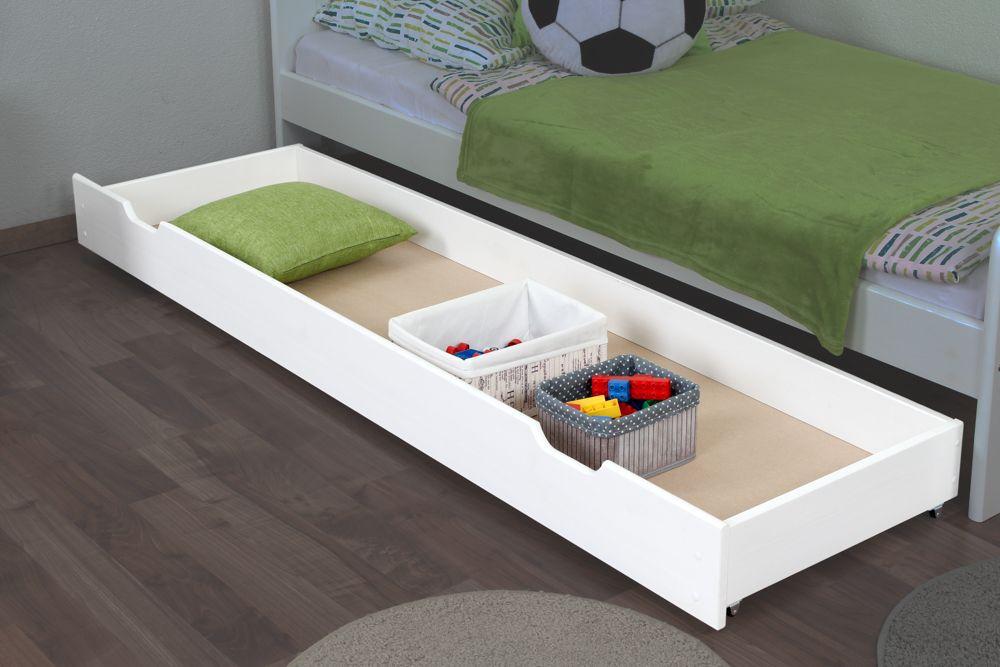 Schublade für Bett - Kiefer Vollholz massiv weiß lackiert 003- Abmessung 18,50 x 198 x 54 cm (H x B x T)
