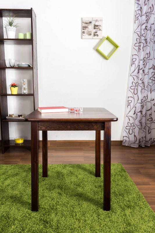 Tisch Kiefer massiv Vollholz Nussfarben 002 (eckig) - Abmessung 70 x 70 cm (B x T)