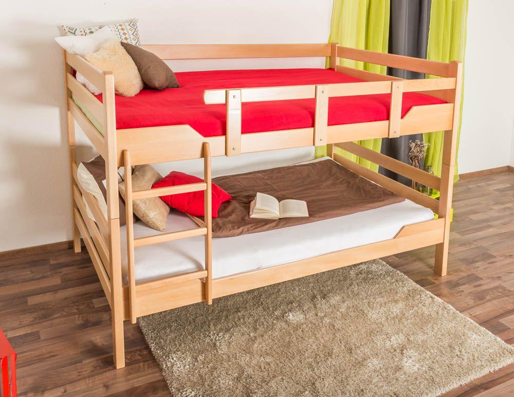 """Stockbett für Erwachsene """"Easy Premium Line"""" K16/n, Kopf- und Fußteil gerade, Buche Vollholz massiv Natur - Liegefläche: 140 x 200 cm, teilbar"""