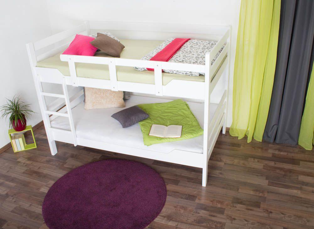 """Stockbett für Erwachsene """"Easy Premium Line"""" K16/n, Kopf- und Fußteil gerade, Buche Vollholz massiv weiß lackiert - Liegefläche: 140 x 200 cm, teilbar"""