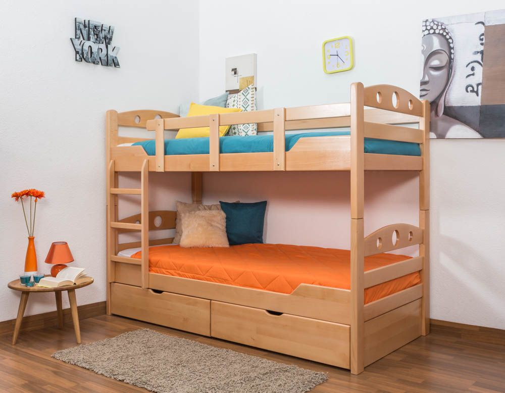 """Etagenbett für Erwachsene """"Easy Premium Line"""" K11/n inkl. 2 Schubladen und 2 Abdeckblenden, Kopf- und Fußteil mit Löchern, Buche Vollholz massiv Natur - Maße: 90 x 200 cm, teilbar"""