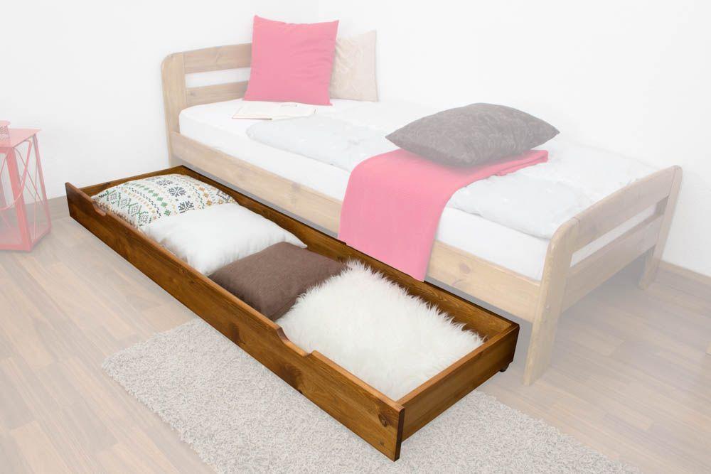 Schublade für Bett - Kiefer Vollholz massiv Eichefarben 003- Abmessung 18,50 x 198 x 54 cm (H x B x T)
