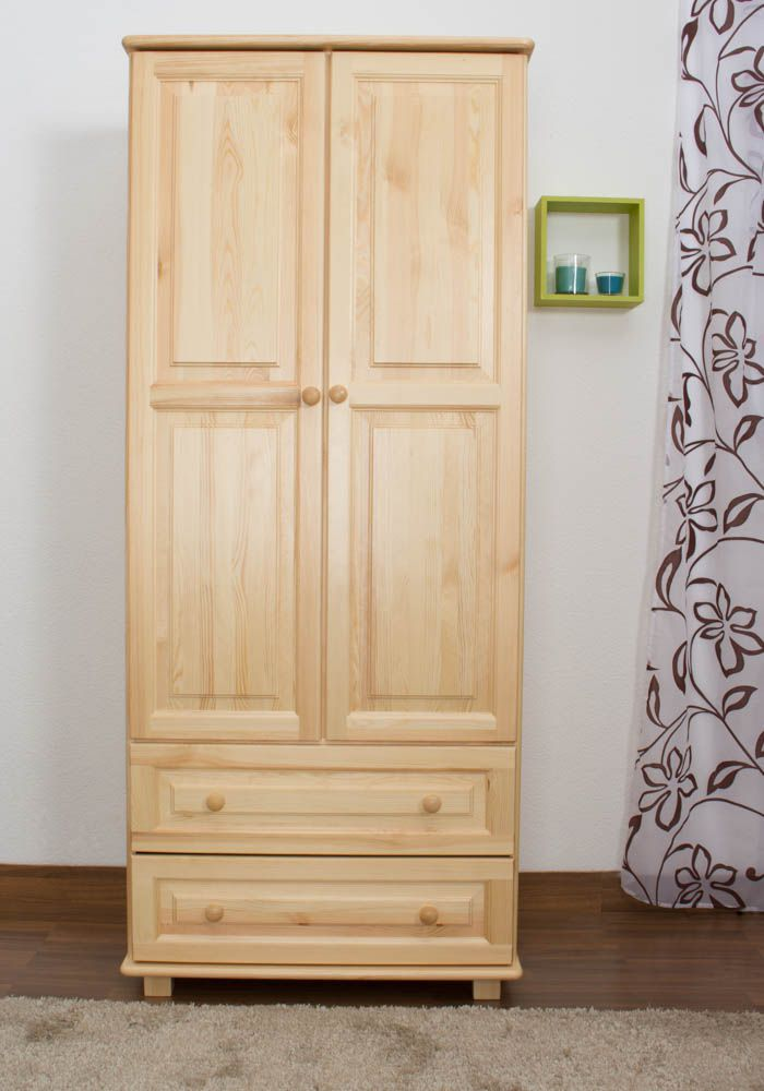 Kleiderschrank Kiefer Vollholz massiv natur 011 - Abmessung 190 x 80 x 60 cm (H x B x T)