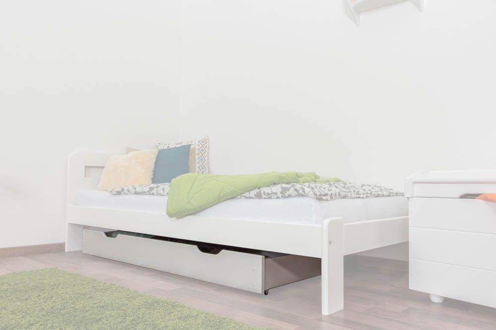 Schublade für Bett - Kiefer Vollholz massiv weiß lackiert 002- Abmessung 17 x 150 x 57 cm (H x B x T)