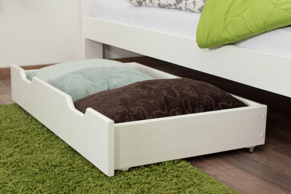 Schublade für Bett - Kiefer Vollholz massiv weiß lackiert 001 - Abmessung 18,50 x 97,50 x 57 cm (H x B x T)