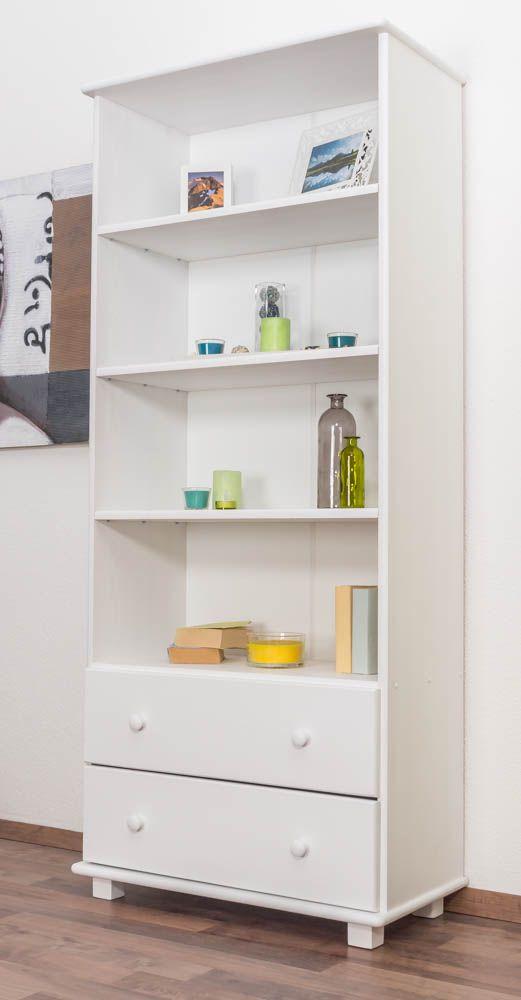 Bücherregal Kiefer massiv Vollholz weiß lackiert B001 - Abmessung 190 x 80 x 42 cm (H x B x T)